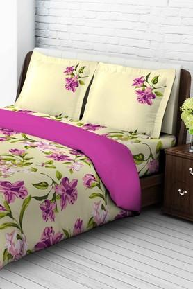 TANGERINE Cotton Floral King XL Bedsheet And Pillow Set - 201662978