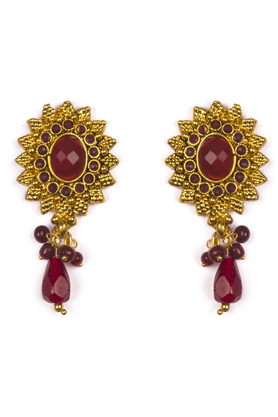 TRIBAL ZONE Sun Shaped Ethnic Earrings Tops, With Red Stones And A Bunch Of Hanging Beads