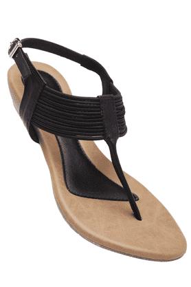 INC.5Womens Black Wedge Sandal