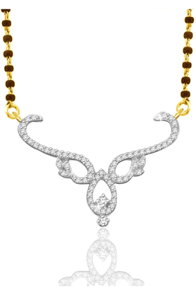 SPARKLES 18Kt Gold Mangalsutra With Diamond Pendant Along With Gold Plated Silver Chain And Black - 7499787_9999