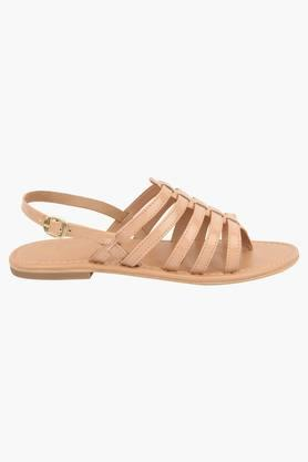 Womens Casual Ankle Buckle Closure Flat Sandals