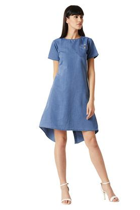 Womens Round Neck Washed A-Line Dress