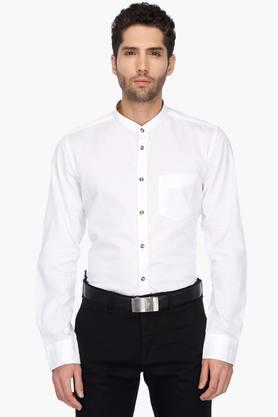 Indian Terrian Formal Shirts (Men's) - Mens Mao Collar Solid Shirt (Chiseled Fit)