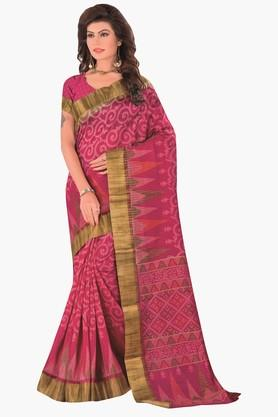 DEMARCA Womens Printed Gold Woven Saree - 201811316