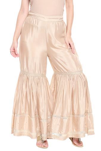 Womens Solid Gota Embroidered Sharara Pants