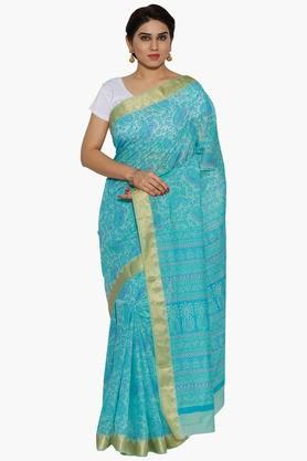 JASHN Women Sky Paisley Print Cotton Saree