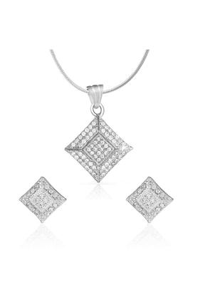 MAHIMahi Rhodium Plated Square Shine Pendant Set With CZ For Women NL1100139R
