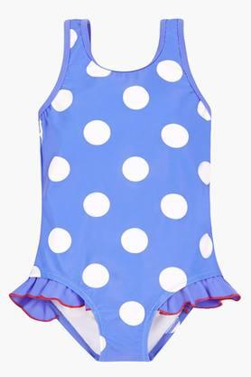 Girls Round Neck Printed Swimsuit