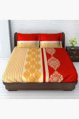 TANGERINEFete Basics Cotton King Bedsheet With 2 Pillow Covers - Red & Yellow