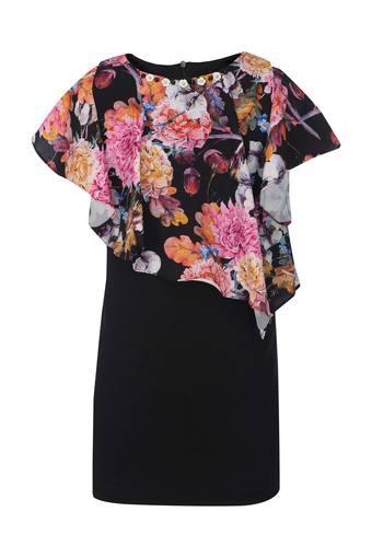 Girls Round Neck Printed Bodycon Dress