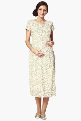 NINE MATERNITYWomens Round Neck Printed Nursing Dress - 202345141