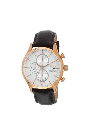 Mens Silver Dial Leather Chronograph Watch - W70407