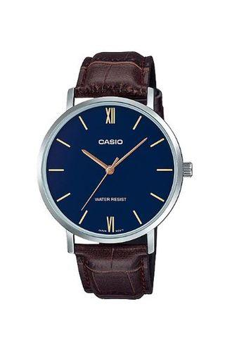 Mens Blue Dial Leather Analogue Watch - MTP-VT01L-2B