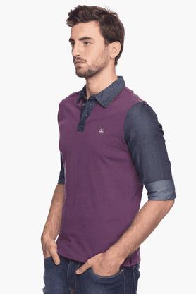 Mens Full Sleeves Slim Fit Colour Block Polo T-Shirt