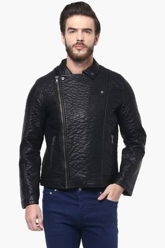 Mens Full Sleeves Solid Biker Jacket