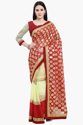Women Faux Georgette With Lace Embellished Saree