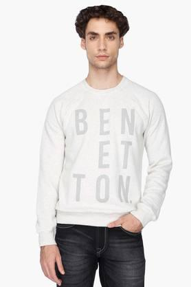 UNITED COLORS OF BENETTON Mens Round Neck Printed Sweater