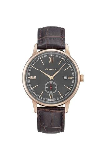 Mens Black Dial Leather Analogue Watch - GT023003