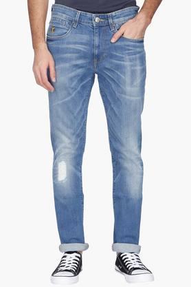 U.S. POLO ASSN. DENIMMens Slim Fit Distressed Jeans (Brandon Fit)