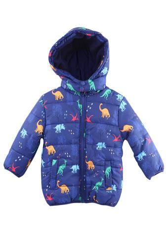 Boys Hooded Neck Printed Quilted Jacket