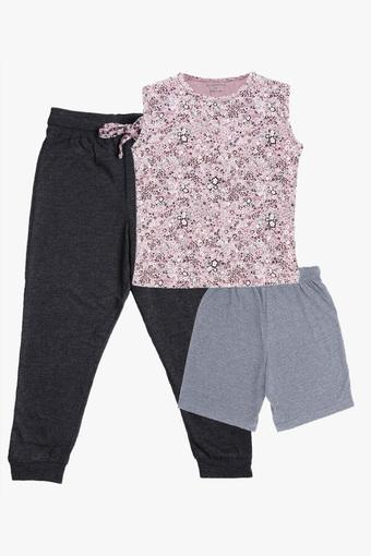 Girls Round Neck Floral Print Tee Joggers and Shorts Set