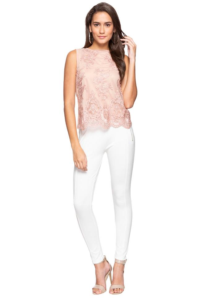 Women Round Neck Embroidered Layered Top