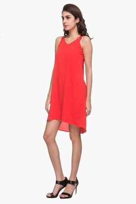 Womens V Neck Solid Dipped Knee Length Dress