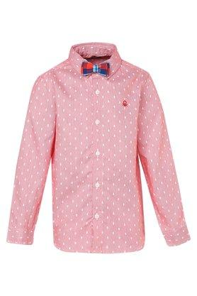 Boys Dot Pattern Casual Shirt with Bow