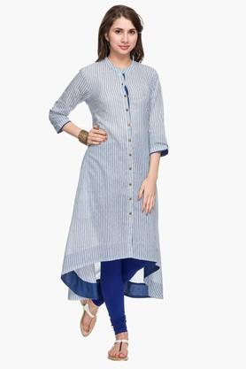Womens Mandarin Neck Stripe High Low Shirt Kurta