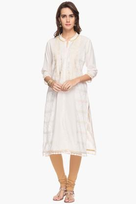 RS BY ROCKY STAR Womens Printed Mandarin Neck Kurta
