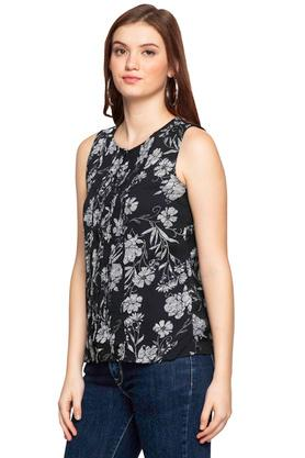 Womens Round Neck Floral Print Shirt