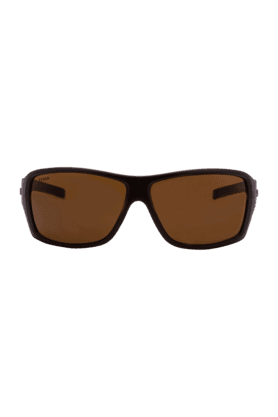 TITAN Eye Plus Glares Matte Brown Full Rim Sporty Wrap Unisex UV Sunglasses - 163PAUL9B