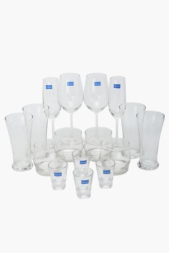 Transparent Home Bar Glass Set of 16 Pieces