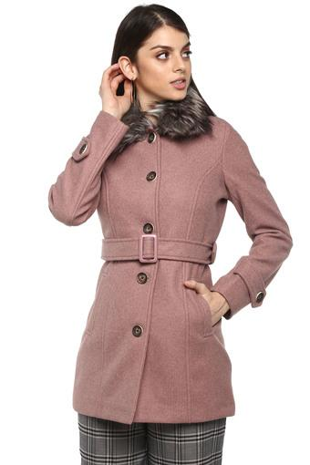 Womens Synthetic Fur Collared Slub Coat