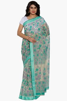 JASHNWomen Floral Print Cotton Saree - 202444497