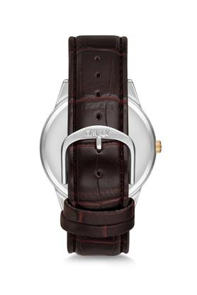 Mens Omax Masterpiece Champagne Dial Leather Analogue Watch - FA9-JD02T15A