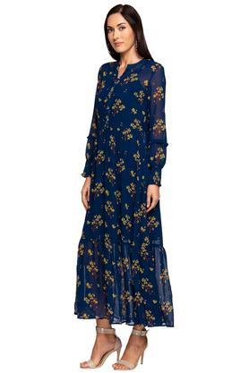 Womens Mandarin Collar Floral Printed Maxi Dress