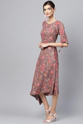 Womens Key Hole Neck Floral Print Asymmetrical Dress