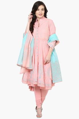 BIBAWomens Cotton Asymmetric Churidar Suit