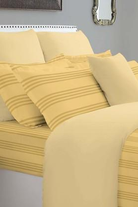 SPACESForever Classic Stripe Gold 400 TC Cotton King XL Bed Sheet With 4 Pillow Covers