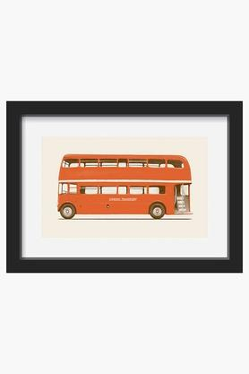 CRUDE AREA Red English Bus Printed Framed Art (Small)  ...