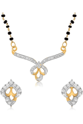 MAHIMahi Rhodium Plated Shimmering Leaves Mangalsutra Set With CZ For Women NL1101434R