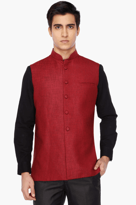 Mens Slim Fit Slub Nehru Jacket