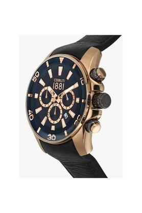 Mens Blue Dial Leather Chronograph Watch - CRA129SR61BK