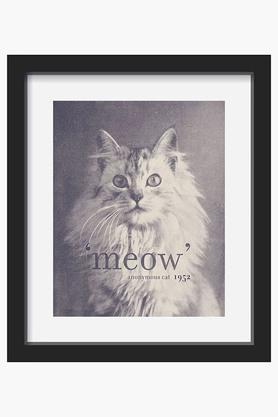 CRUDE AREA Black And White Famous Quote Cat Printed Framed Art (Small)  ...