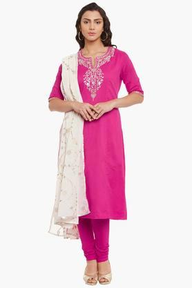 BIBA Womens Cotton Straight Suit Set
