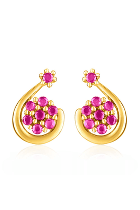 MAHI Gold Plated Red Bud Earrings With Ruby For Women ER1109354G