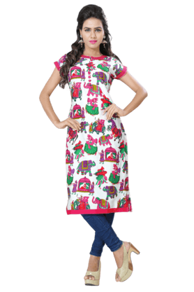 DEMARCA Womens Printed Kurta (Buy Any Demarca Product & Get A Pair Of Matching Earrings Free) - 200936936