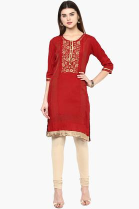 RANGRITI Womens Round Neck Embroidered Solid Kurta (Plus Size)