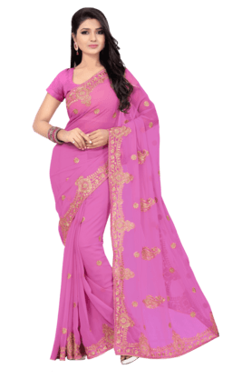 DEMARCAWomens Faux Georgette Saree (Buy Any Demarca Product & Get A Pair Of Matching Earrings Free)